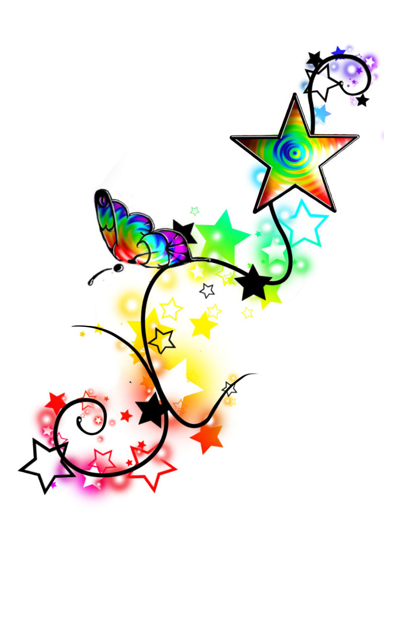 rainbow butterfly stars tattoo by misi006 on deviantart. Black Bedroom Furniture Sets. Home Design Ideas