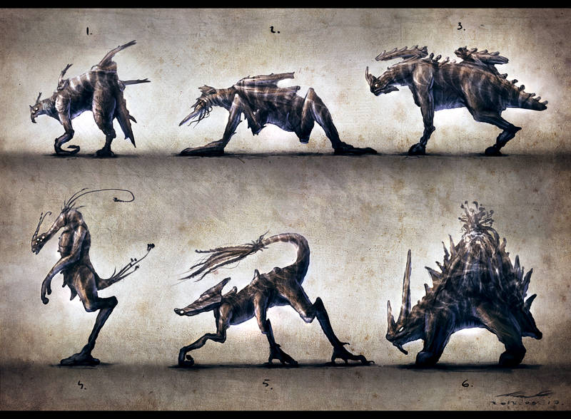 Silhouette Concept Creature Painting by misi006