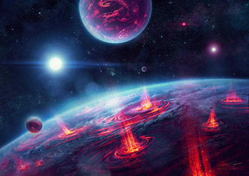 Fantasy Storm Planets by misi006