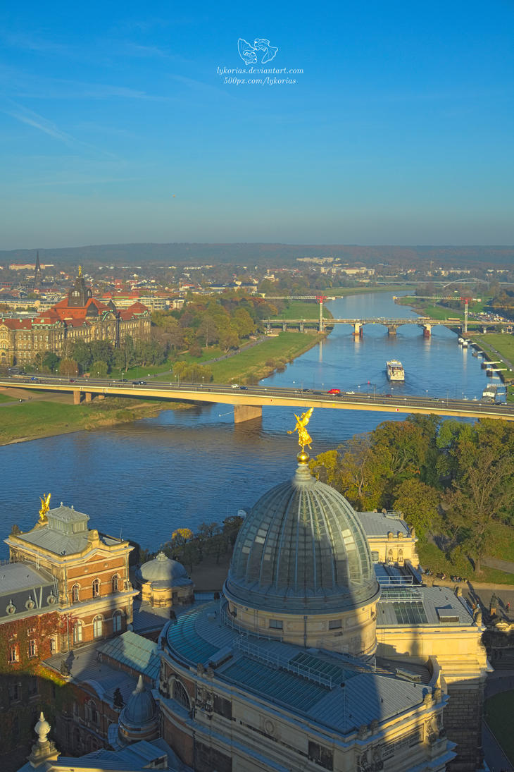 Dresden - view from the Frauenkirche by Lykorias