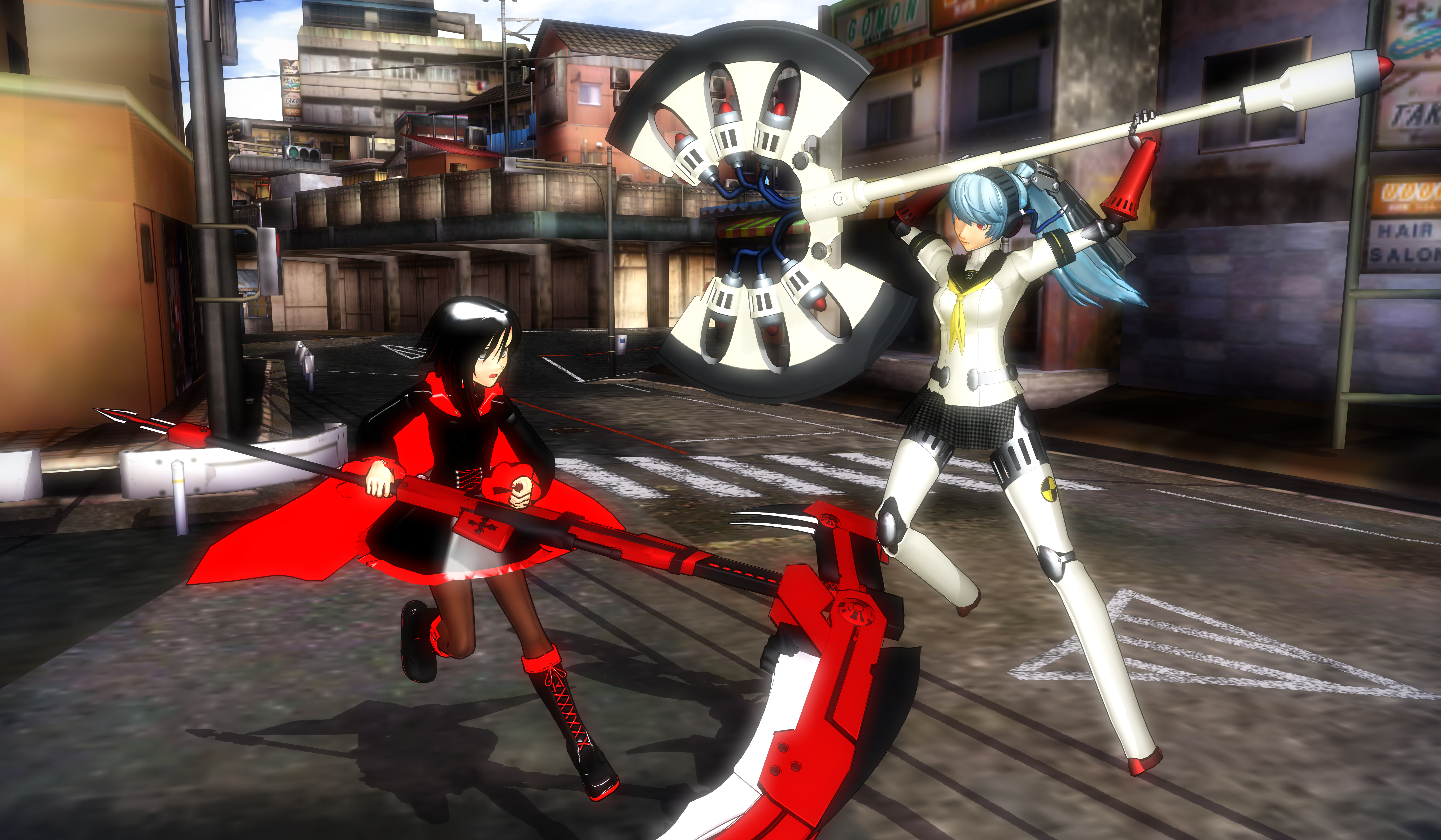 MMD:  Ruby Rose vs Labrys [RWBY + P4A] by Miku-Nyan02 on