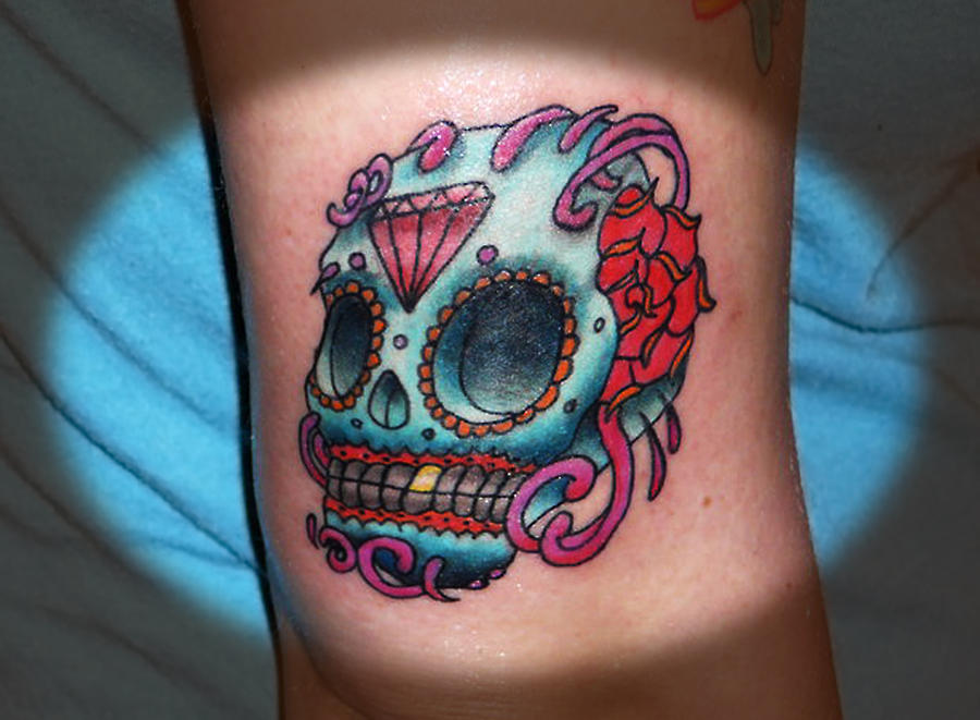 candy skull tattoo pictures. Candy Skull Tattoo by ~InkFink