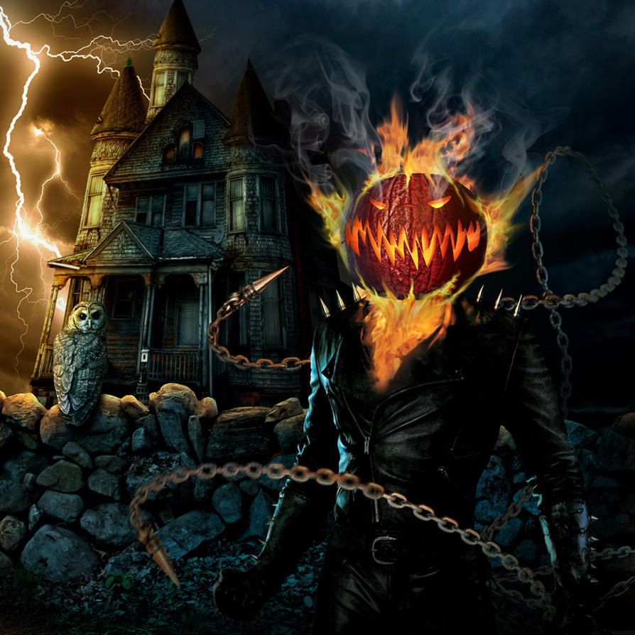 Flaming Pumpkinhead new by funkwood