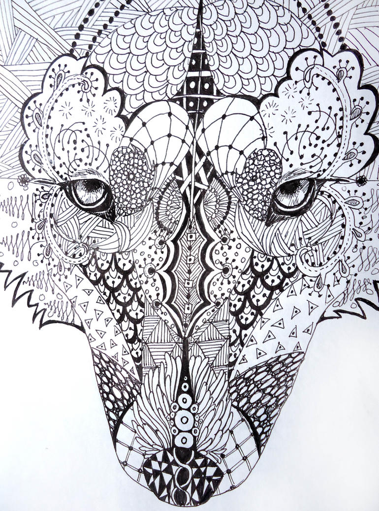 zentangle wolf by lupinemoonfeather on DeviantArt