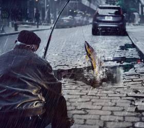 Street Fishing by Valdevia