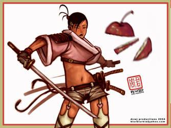 Samurai Girl in shorts by dcwj