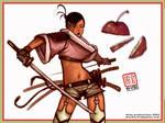 Samurai Girl in shorts
