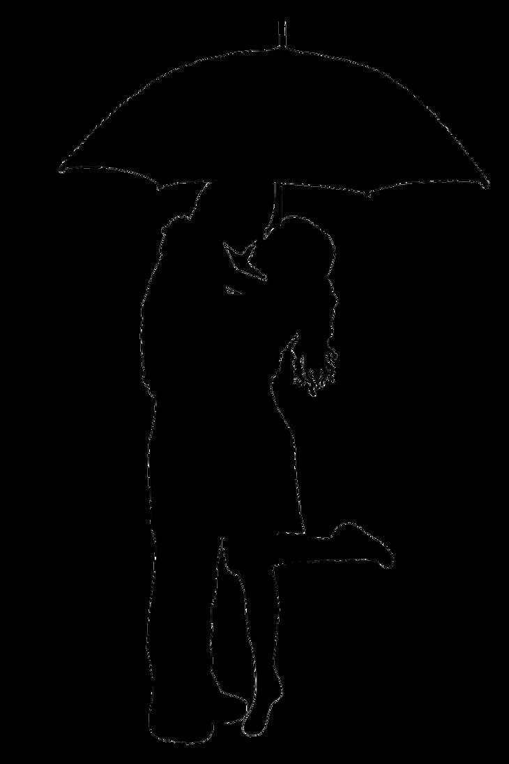 Rumpelstiltskin and Belle Kissing in the Rain