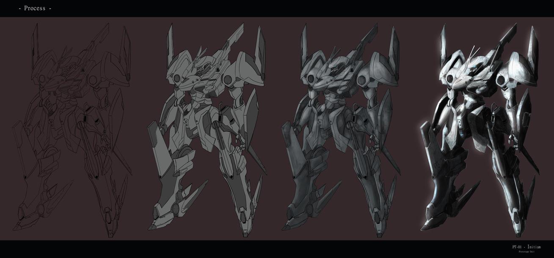 PT-01 Initium Drawing Process by ArtNotHearts