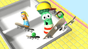 Junior and his friends Skateboarding