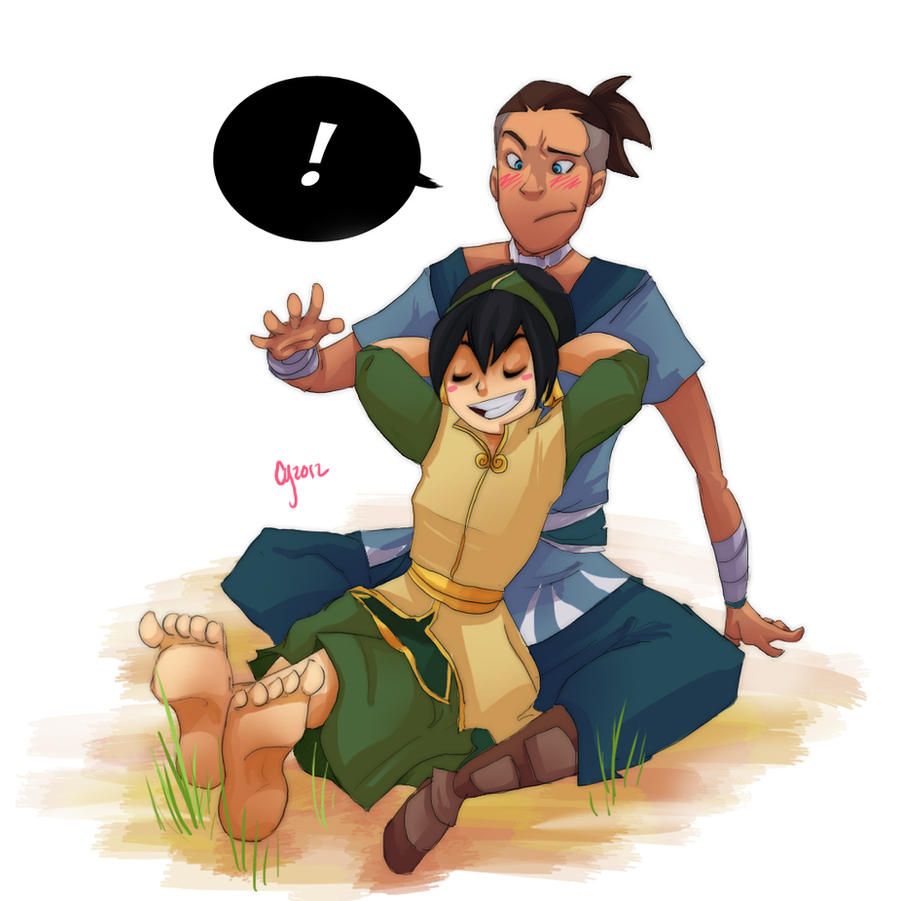 Toph and Sokka- Commission by Ceshira