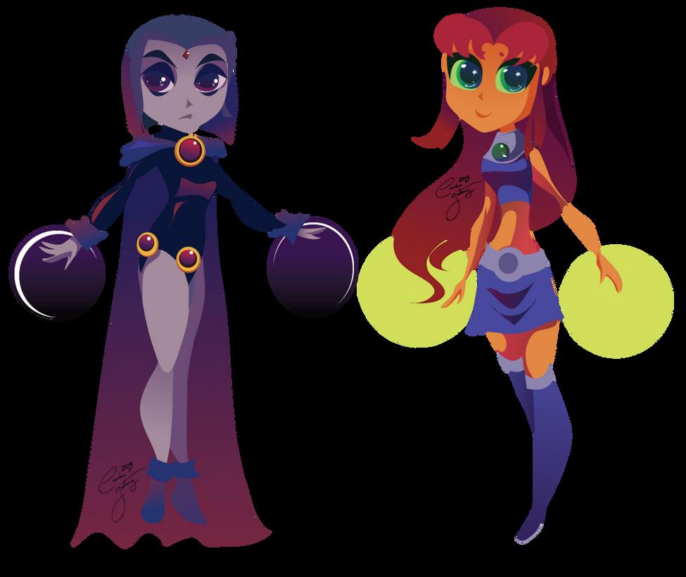 Raven and Starfire by Ceshira
