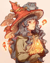 The mushroom witch and her familiar by Clivenzu