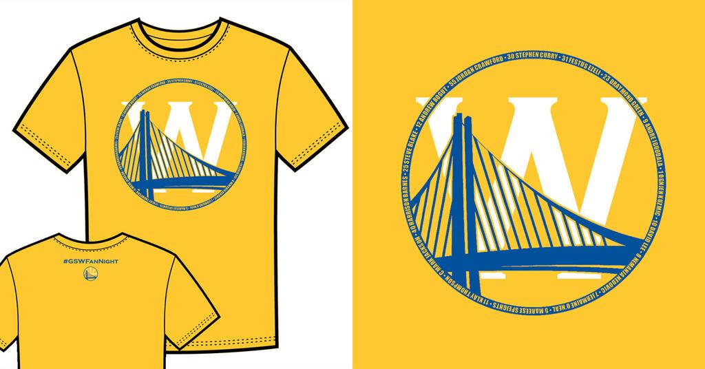 Warriors T-Shirt Idea - Bridge and W 2 (Yellow) by jtchan