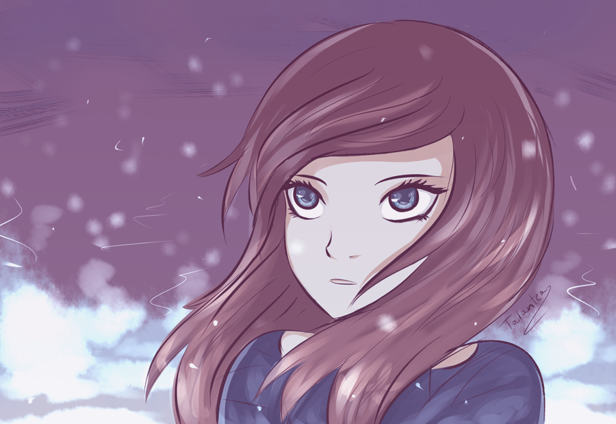 In the winter snow