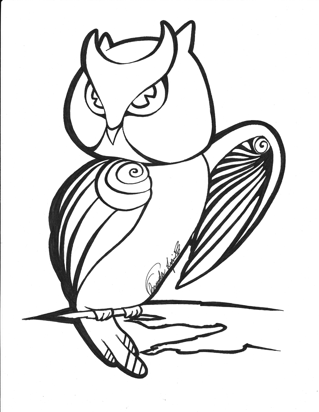Cute Outline Owl by xmissbluex on DeviantArt