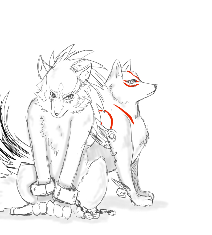 Wolf Link and Amaterasu Sketch by ss2sonic on DeviantArt