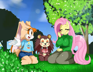 Cream,Sable and Fluttershy... by ss2sonic