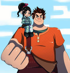 Ralph and Vanellope by ss2sonic