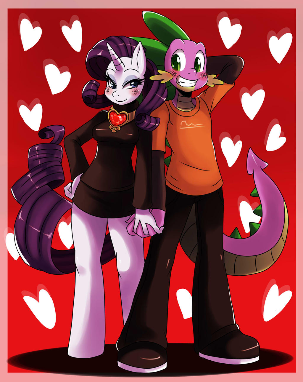 Spike and Rarity: Valentine by ss2sonic