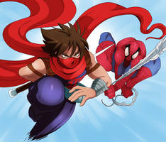 Strider Hiryu and Spiderman