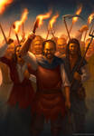Angry mob of peasants by Montjart