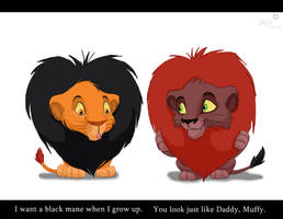Mufasa and Scar cubbie hair by Juffs