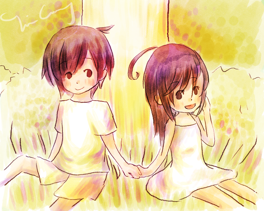 Two cute girls holding hands Yuru Yuri  awwnime