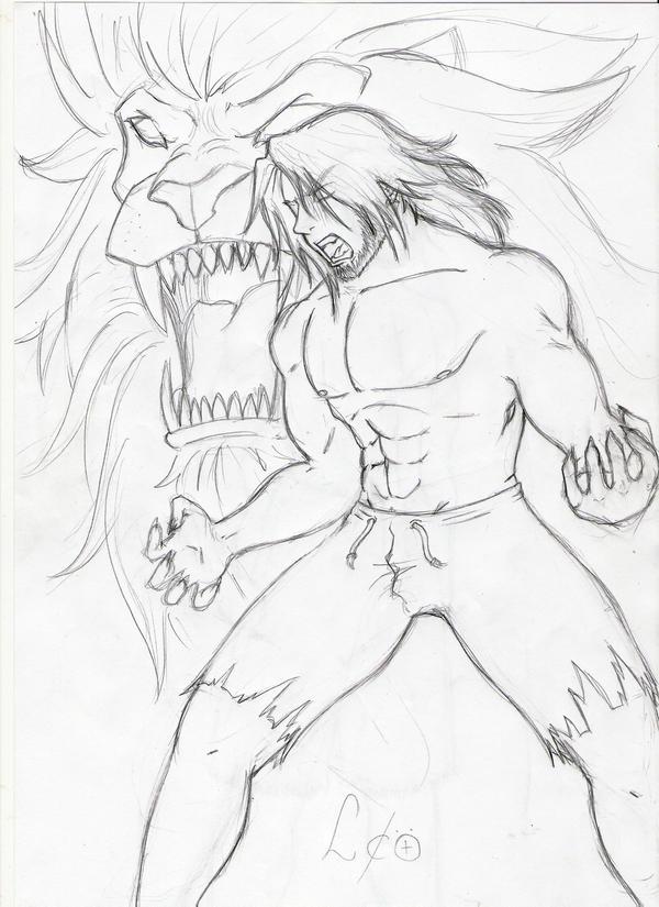 Cool Lion Roaring Drawing