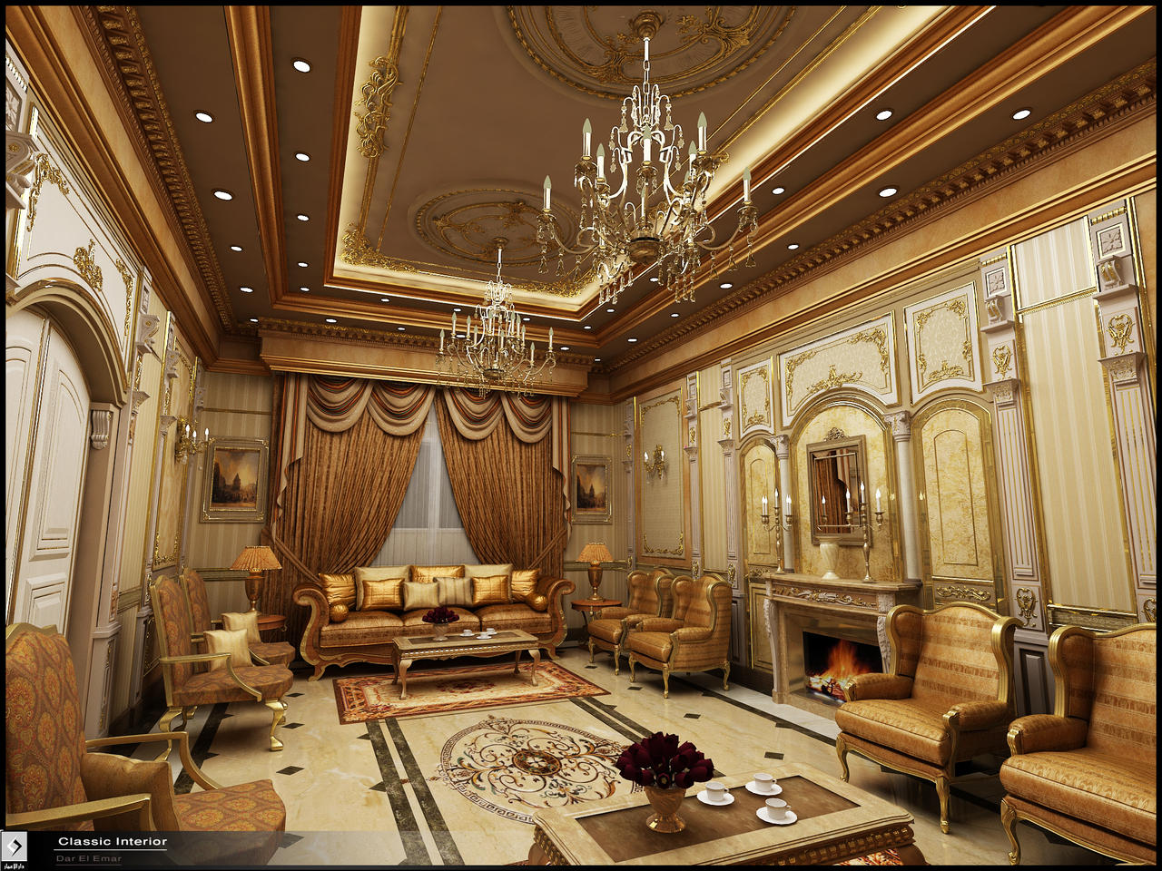Classic interior in ksa by amr maged on deviantart for Classic villa interior design