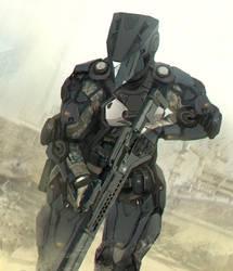 Medium range combat exosuit.