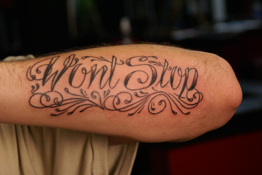 custom script tattoo by dv8ordeath