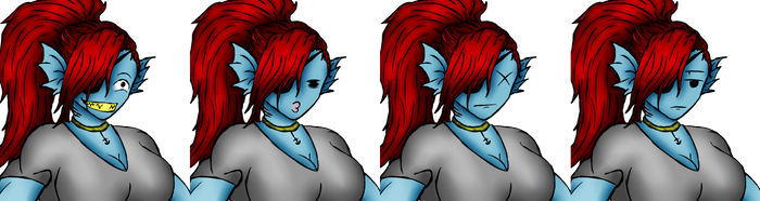 Undyne (scraped game face set) by Ro4le