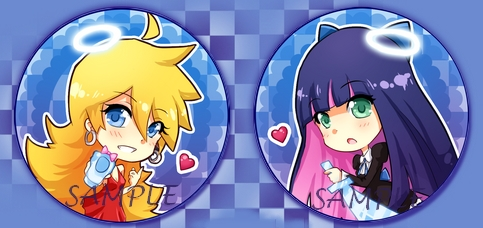 Panty and Stocking buttons by Quiss