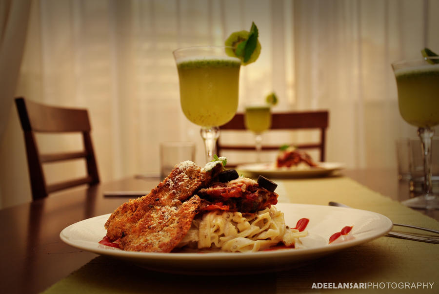 Aubergine fettuccine with herb chicken stake - 02 by aldraco