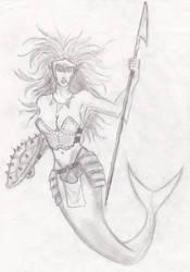warrior mermaid by EyeCandyAddict