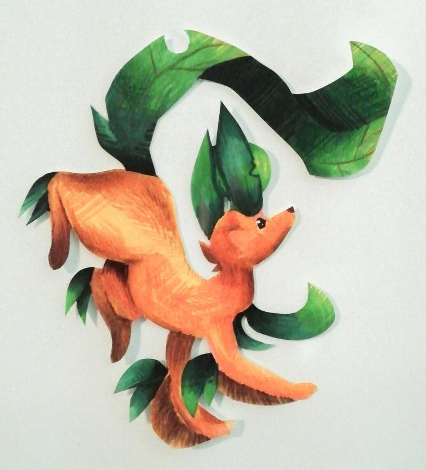 Leafeon Paper Doll by Maddie-the-Cattie