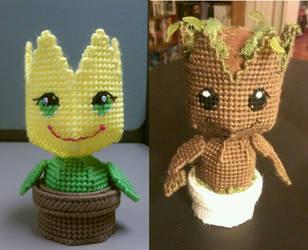 Amigurumi Tulip and Amigurumi Groot Custom by sanzosgal