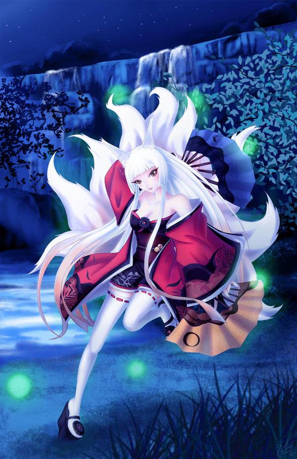 Anime White Kitsune Kitsune