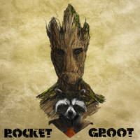 Rocket And Groot by PhilipDouglasArt