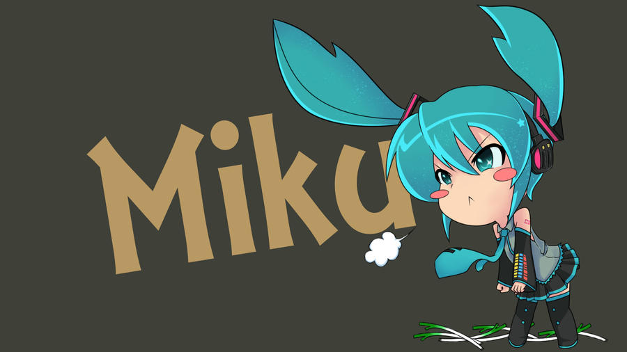 Hatsune Miku Chibi Wallpaper (Wide) by HaMsTeYr on DeviantArt Hatsune Miku Chibi Wallpaper