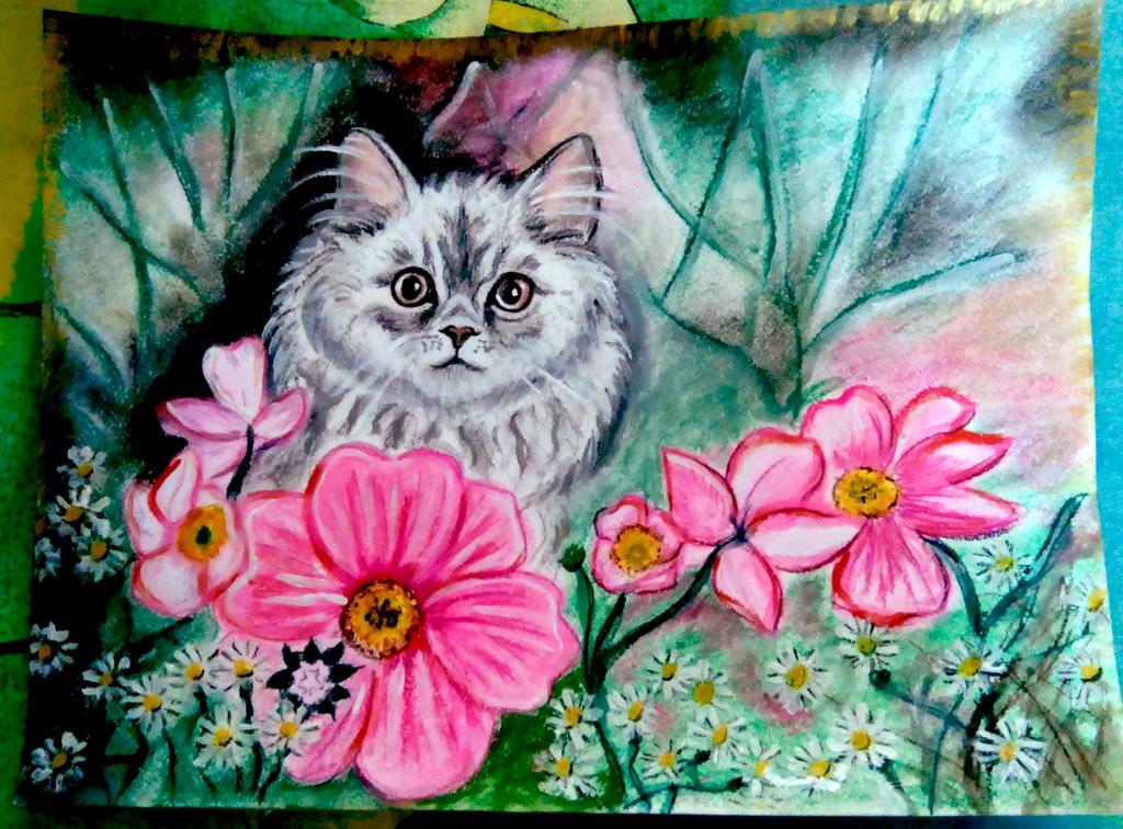 Cat in flowers by Gnomushka