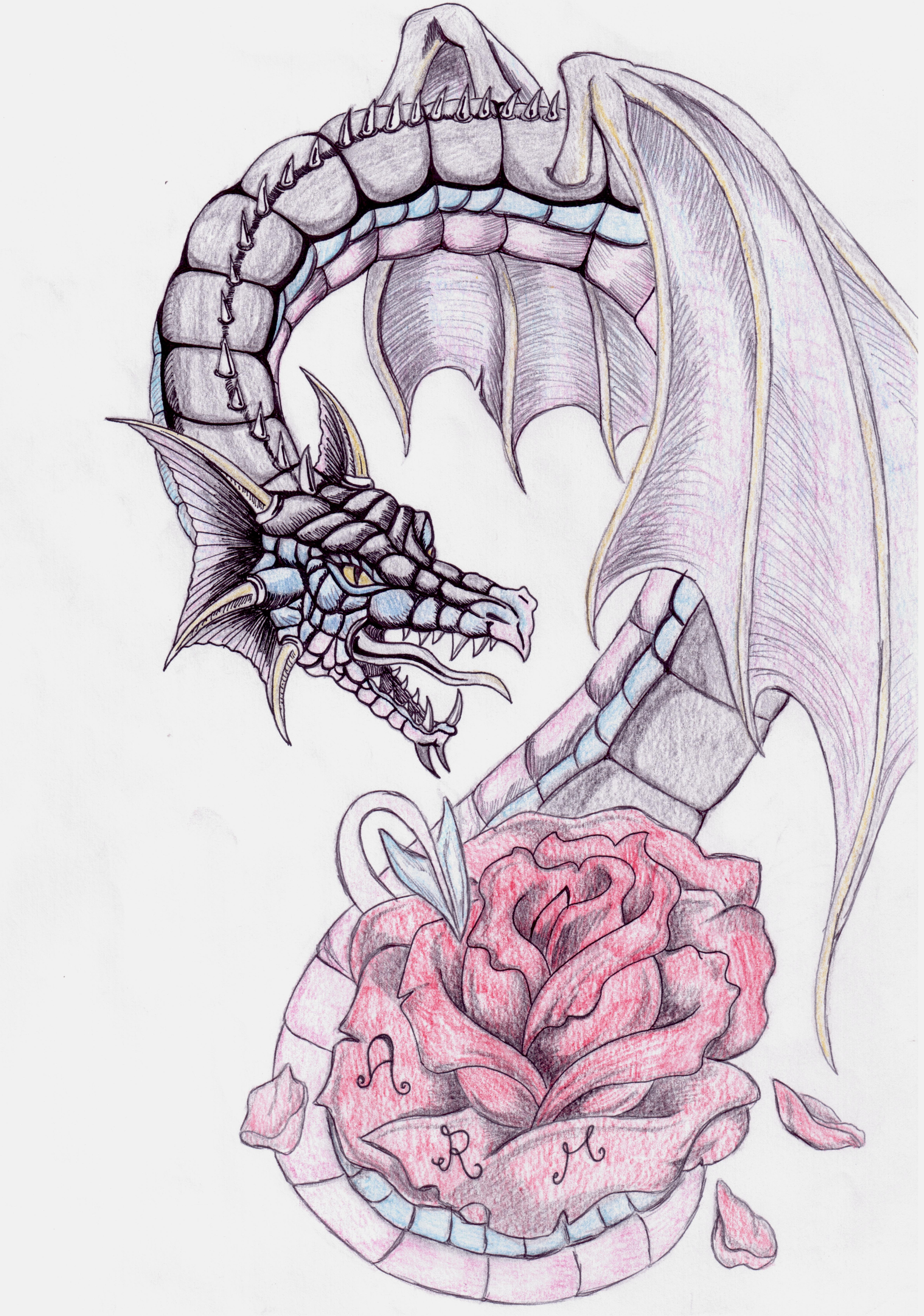 dragon tattoo and rose by bellaswan91 on deviantart. Black Bedroom Furniture Sets. Home Design Ideas