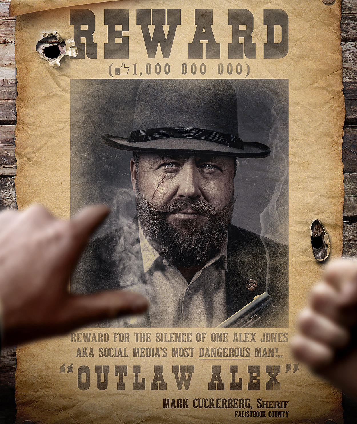 Amazing Art: Outlaw Alex Jones Wanted by Sheriff Mark Cuckerberg
