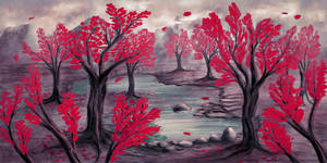 Red trees and turquoise pond