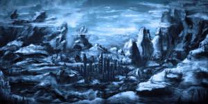 Blaue Berglandschaft