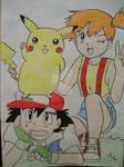 Misty, Ash, and Pikachu