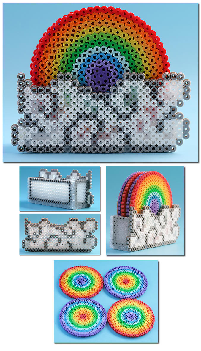 Rainbow Drink Coasters with Cloud Container by ThePlayfulPerler