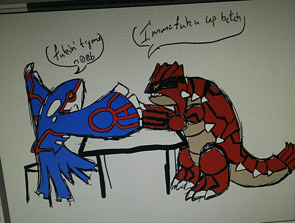 Uncategorized How To Draw Kyogre crappy drawing of kyogre and groudon arm wrestling by wolfiedream42