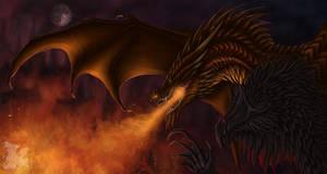 Just casual dragon burning activities by Svartya